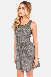 Olive & Oak What the Speckle Black and Gold Dress at Lulus.com!
