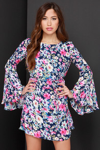 My Fleur Lady Navy Blue Floral Print Dress at Lulus.com!