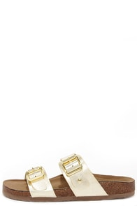 Madden Girl Brando Gold Buckled Slide Sandals at Lulus.com!