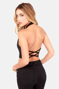 Lace Yourself Black Crop Top at Lulus.com!