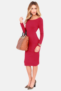 Stuck in the Midi With You Red Bodycon Dress at Lulus.com!
