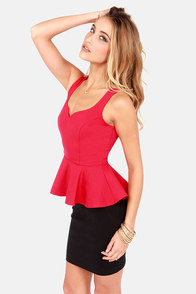 My Kind of Night Red Peplum Top at Lulus.com!