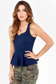My Kind of Night Navy Blue Peplum Top at Lulus.com!