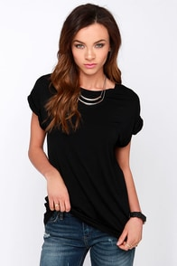 Roll With It Black Tee at Lulus.com!