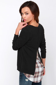 Back in Town Black Sweater Top at Lulus.com!