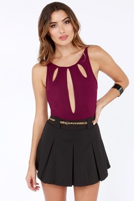 Loop Dreams Cutout Burgundy Bodysuit