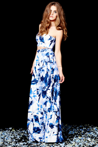 Placid Trip Blue and Ivory Print Two-Piece Dress at Lulus.com!