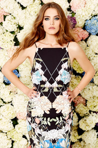Keepsake Same Love Black Floral Print Midi Dress at Lulus.com!