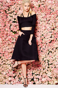 Away From Here Black Midi Skirt at Lulus.com!