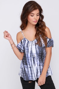 Lucy Love Hollie Grey Tie-Dye Top at Lulus.com!