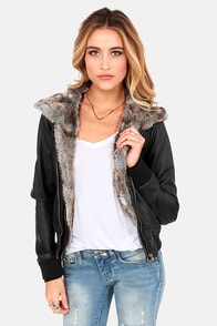 Obey Danger Zone Hooded Fur Black Vegan Leather Jacket