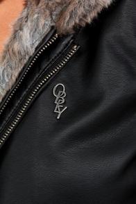 Obey Danger Zone Hooded Fur Black Vegan Leather Jacket at Lulus.com!