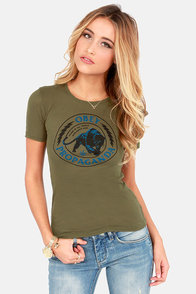 Obey Panther Militia Nubby Olive Green Print Tee at Lulus.com!