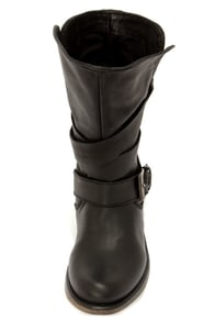 Steve Madden Brewzzer Black Leather Belted Mid-Calf Boots at Lulus.com!