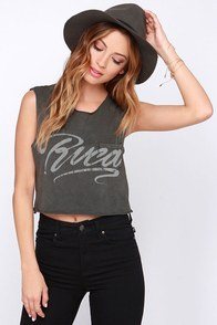 RVCA Ink Script Washed Grey Crop Tee at Lulus.com!
