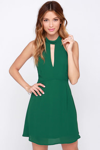 Halter At Ya Forest Green Dress at Lulus.com!