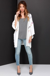 Moonglow Embroidered Ivory Kimono Top at Lulus.com!
