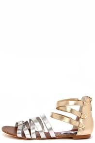 Steve Madden Worldly Silver and Gold Gladiator Sandals at Lulus.com!