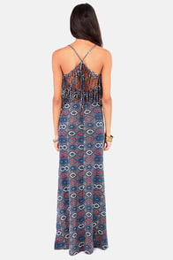 RVCA Burder Blue Print Maxi Dress at Lulus.com!