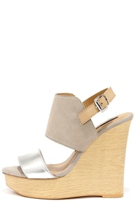 Kensie Devora Silver Suede Leather Platform Wedge Sandals at Lulus.com!