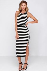 Cool and Collected Black and Ivory Striped Midi Dress at Lulus.com!