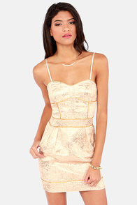Gentle Fawn Twinkle Strapless Gold Brocade Dress at Lulus.com!