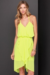 Bright Here and Now Chartreuse Dress at Lulus.com!