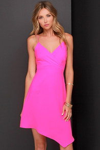 Hand Over Heart Neon Pink Dress at Lulus.com!