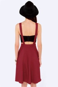 Keep in Touch Wine Red Suspender Skirt at Lulus.com!