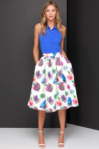 Posie On Over Ivory Floral Print Midi Skirt at Lulus.com!