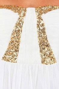 Treasure Hunt Strapless Ivory Sequin Dress at Lulus.com!