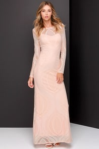 Always On My Mind Peach Lace Maxi Dress at Lulus.com!