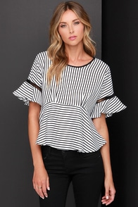 Frilly and Truly Black and White Striped Top at Lulus.com!