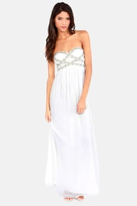 Perfect Poise Strapless White Maxi Dress at Lulus.com!