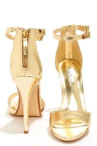 Anne Michelle Perton 39 Gold Rhinestone Leopard High Heels at Lulus.com!