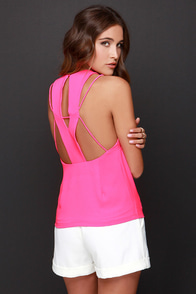 Let Me X-plain Hot Pink Top at Lulus.com!