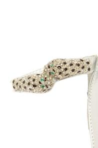 Anne Michelle Perton 39 Silver Rhinestone Leopard High Heels at Lulus.com!
