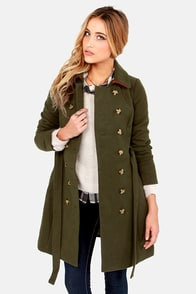 Lavand Falling For You Army Green Coat at Lulus.com!