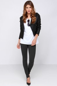 Fit Up the Stakes Charcoal Grey Leggings at Lulus.com!