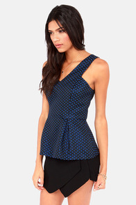 Hit The Road Jacquard Black Peplum Top at Lulus.com!