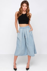 About That Life Blue Chambray Culottes at Lulus.com!