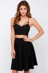 Crops and Robbers Black Lace Crop Top at Lulus.com!