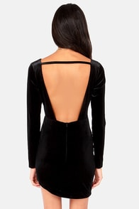 Architectural Wonder Backless Black Velvet Dress at Lulus.com!