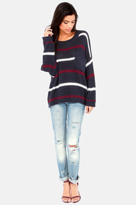 The Better Sweater Navy Blue Striped Sweater at Lulus.com!