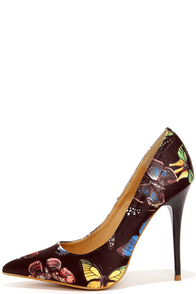 Fly Girl Black Butterfly Print Pumps at Lulus.com!