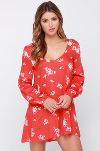 Billabong Sweet Tomorrows Red Orange Floral Print Dress at Lulus.com!