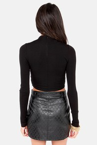 Slit's About Time Black Crop Top at Lulus.com!