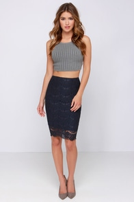 Lace in Line Navy Blue Lace Midi Skirt at Lulus.com!