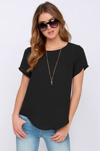 Coffee Date Black Top at Lulus.com!