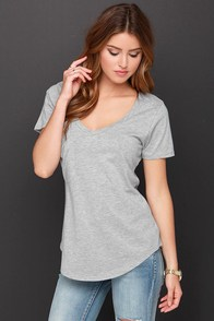 Pleasant Surprise Heather Grey Tee at Lulus.com!